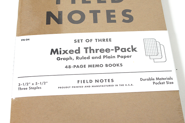 """Field Notes Memo Book - Original Cover - 3.5"""" X 5.5"""" - 48 Pages - Mixed - Pack of 3 - FIELD NOTES FN-04"""