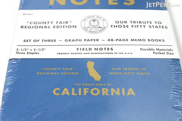 """Field Notes Color Cover Memo Book - County Fair - 3.5"""" x 5.5"""" - 48 Pages - 5 mm Graph - Pack of 3 - California - FIELD NOTES FN-01A-CA"""