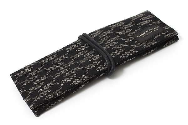 Saki P-661 Roll Pen Case with Traditional Japanese Fabric - Black - SAKI 661015