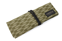Saki P-661 Roll Pen Case with Traditional Japanese Fabric - Maccha Green - SAKI 661121
