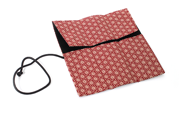 Saki P-661 Roll Pen Case with Traditional Japanese Fabric - Dark Red - SAKI 661152