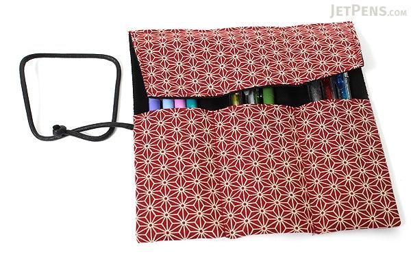 Saki P-661 Roll Pen Case with Traditional Japanese Fabric - Dark Red - SAKI 661152