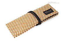 Saki P-661 Roll Pen Case with Traditional Japanese Fabric - Mustard Yellow - SAKI 661145