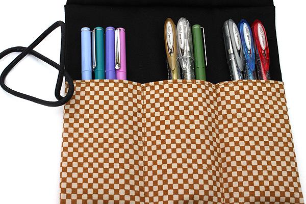 Saki P-661 Roll Pen Case with Traditional Japanese Fabric - Mustard Yellow - SAKI 661145