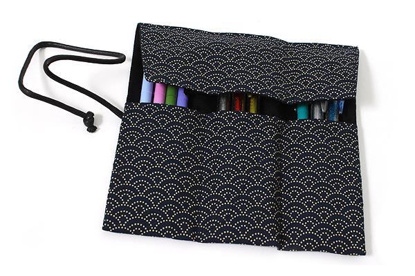 Saki P-661 Roll Pen Case with Traditional Japanese Fabric - Navy - SAKI 661077