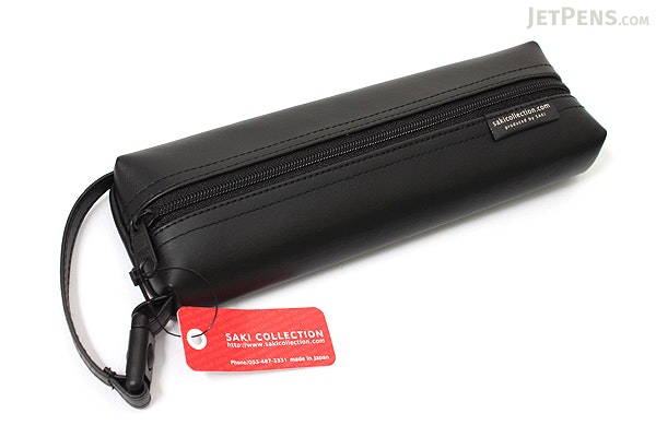 Saki P-676 Leatherette Pen Case with Handle - Black - SAKI 676019
