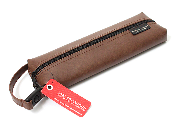 Saki P-676 Leatherette Pen Case with Handle - Brown - SAKI 676095