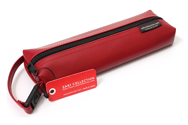 Saki P-676 Leatherette Pen Case with Handle - Red - SAKI 676156