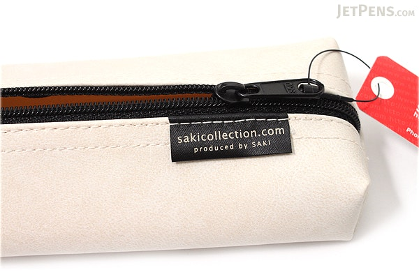 Saki P-676 Leatherette Pen Case with Handle - White - SAKI 676217
