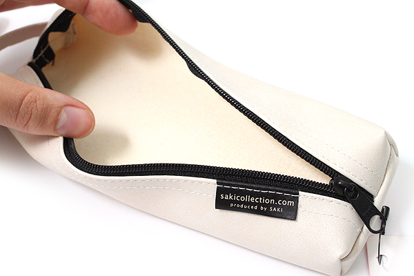 Saki P-676 Leatherette Pen Case with Handle - White - SAKI 676217