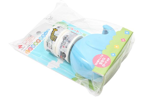 Nichiban Word Play Children's Tape - Animal Series - Blue - 18 mm X 5 m - Dispenser + 2 Tape Rolls - NICHIBAN KA-18DCR