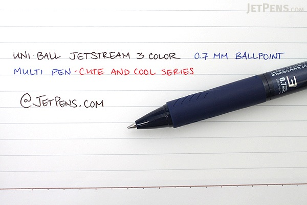 Uni Jetstream 3 Color 0.7 mm Ballpoint Multi Pen - Cute and Cool Series - Cool Navy Blue Body - UNI SXE340007.CN