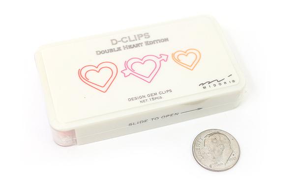 Midori D-Clips Paper Clips - Double Heart - Box of 15 - MIDORI 43199-006