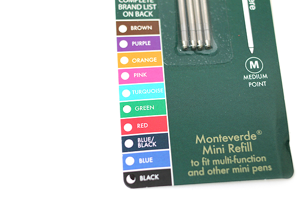 Monteverde Soft Roll Ballpoint Pen Refill - D1 - 0.7 mm - Green - Pack of 4 - MONTEVERDE D132GN