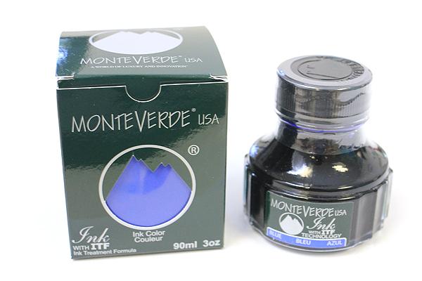 Monteverde Fountain Pen Ink with Ink Treatment Formula - 90 ml Bottle - Blue - MONTEVERDE G308BU