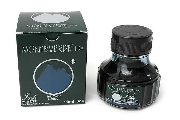 Monteverde Fountain Pen Ink with Ink Treatment Formula - 90 ml Bottle - Blue Black - MONTEVERDE G308BB