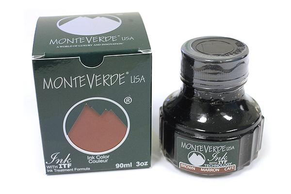 Monteverde Fountain Pen Ink with Ink Treatment Formula - 90 ml Bottle - Brown - MONTEVERDE G308BN