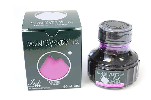 Monteverde Fountain Pen Ink with Ink Treatment Formula - 90 ml Bottle - Purple - MONTEVERDE G308PL