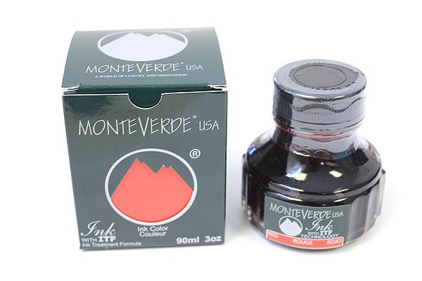 Monteverde Fountain Pen Ink with Ink Treatment Formula - 90 ml Bottle - Red - MONTEVERDE G308RD