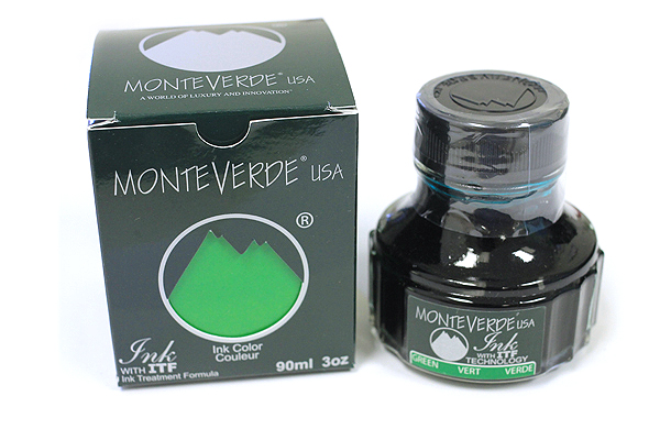 Monteverde Fountain Pen Ink with Ink Treatment Formula - 90 ml Bottle - Green - MONTEVERDE G308GN