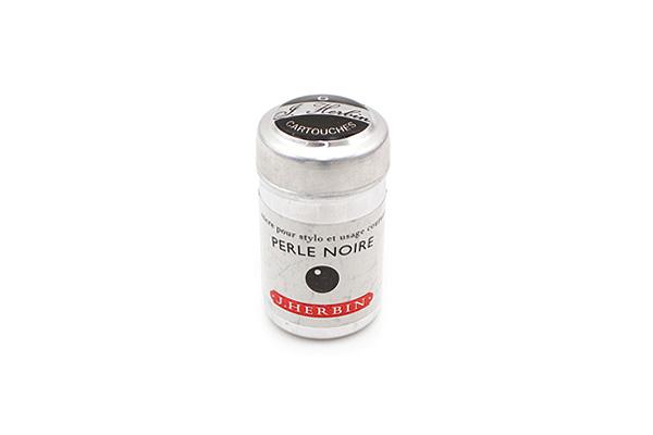 J. Herbin Fountain Pen Ink Cartridge - Perle Noire (Pearl Black) - Pack of 6 - J. HERBIN H201-09