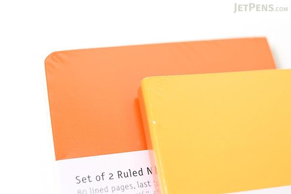 "Moleskine Volant Notebook - Plain - Large (5"" x 8.25"") - Set of 2 - Orange Yellow & Cadmium Orange - MOLESKINE 978-88-6293-790-0"