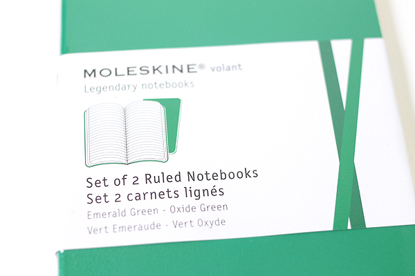 "Moleskine Volant Notebook - Ruled - Pocket (3.5"" x 5.5"") - Set of 2 - Emerald Green & Oxide Green - MOLESKINE 978-88-6293-784-9"