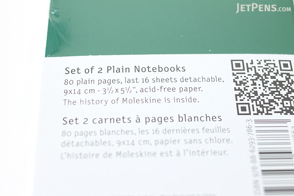 "Moleskine Volant Notebook - Plain 80 Pages - Pocket (3.5"" X 5.5"") - Set of 2 - Emerald Green & Oxide Green - MOLESKINE 978-88-6293-786-3"