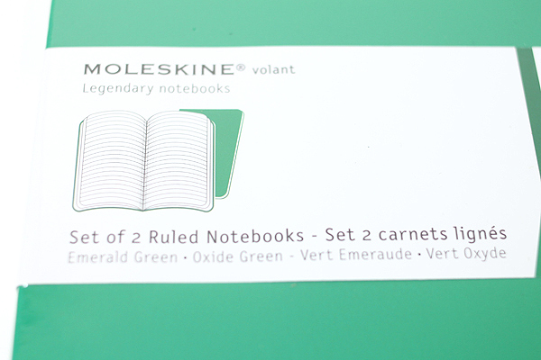 "Moleskine Volant Notebook - Ruled - Large (5"" x 8.25"") - Set of 2 - Emerald Green & Oxide Green - MOLESKINE 978-88-6293-789-4"
