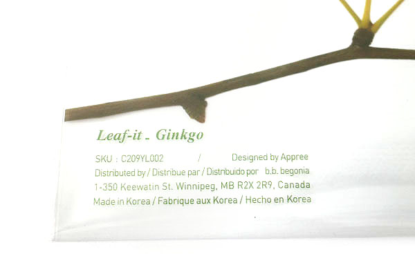 B.B.Begonia Leaf-it Memo Note Set (20 Sheets / Leaf) - Ginkgo - Yellow - C209YL002S