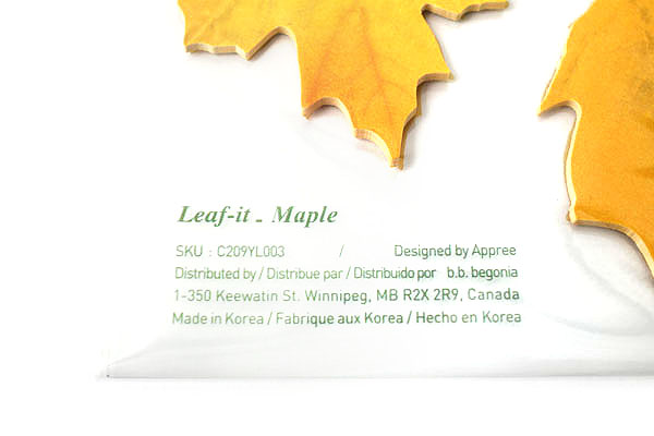 B.B.Begonia Leaf-it Memo Note Set (20 Sheets / Leaf) - Maple - Yellow - C209YL003S