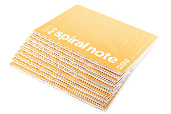 "Maruman Eco Spiral Notebook - B5 (6.9"" X 9.8"") - 6 mm Rule - 37 Lines X 30 Sheets - Orange - Bundle of 10 - MARUMAN N901-09 BUNDLE"