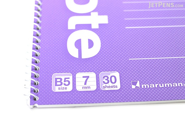 "Maruman Eco Spiral Notebook - B5 (6.9"" X 9.8"") - 7 mm Rule - 31 Lines X 30 Sheets - Purple - Bundle of 10 - MARUMAN N900-10 BUNDLE"