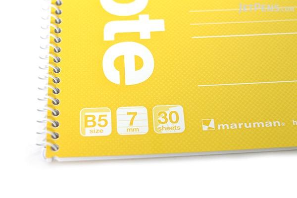 "Maruman Eco Spiral Notebook - B5 (6.9"" X 9.8"") - 7 mm Rule - 31 Lines X 30 Sheets - Yellow - Bundle of 10 - MARUMAN N900-04 BUNDLE"