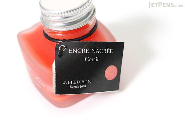 J. Herbin Coral Red Ink - Pearlescent - for Dip Pen - 30 ml Bottle - J. HERBIN H132/58