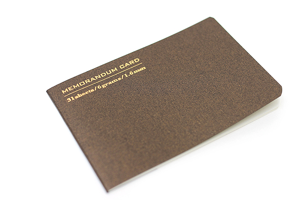"Midori Memorandum Card - 2.25"" X 3.33"" Blank - 31 Sheets - Brown - MIDORI 230829"