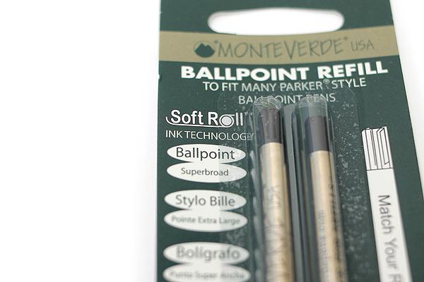 Monteverde One Touch Original Ballpoint Pen Refill - 1.4 mm - Black - Pack of 2 - MONTEVERDE P152BK