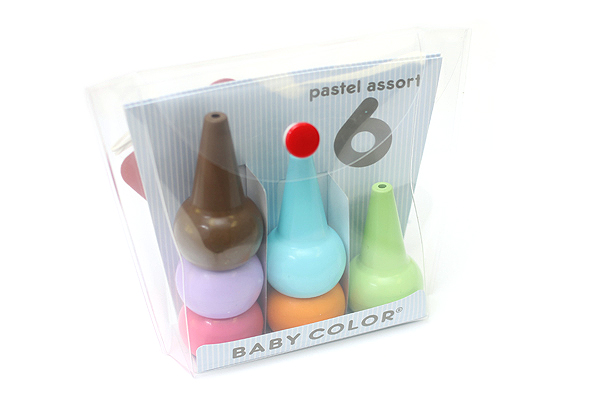 Aozora Baby Color Stackable Crayon Bit - 6 Pastel Color Set - AOZORA BC PASTEL 6C