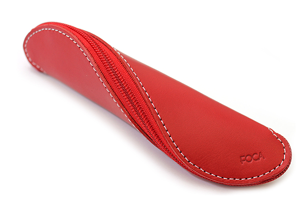 Zip Wrap Leather Pencil Case - Twist Model - Red - ZW00210F