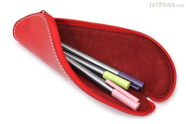 Zip Wrap Leather Pencil Case - Twist Model - Red - ZW00210F