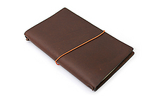 "Pelle Leather Journal - Brown - Medium + 1 Plain Linen Paper Notebook (4.3"" X 6.8"") Insert - 64 Pages - PELLE LJ M"