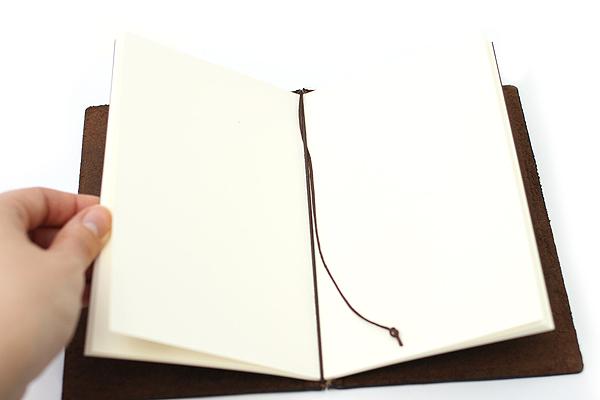 "Pelle Leather Journal - Brown - Medium + 1 Plain Linen Paper Notebook (4.3"" X 6.8"") Insert - 64 Pages - PELLE LJ M"