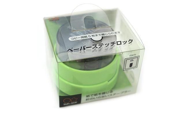 Sun-Star Paper Stitch Lock Stand Staple-Less Stapler - Bamboo Green - SUN-STAR S4766385