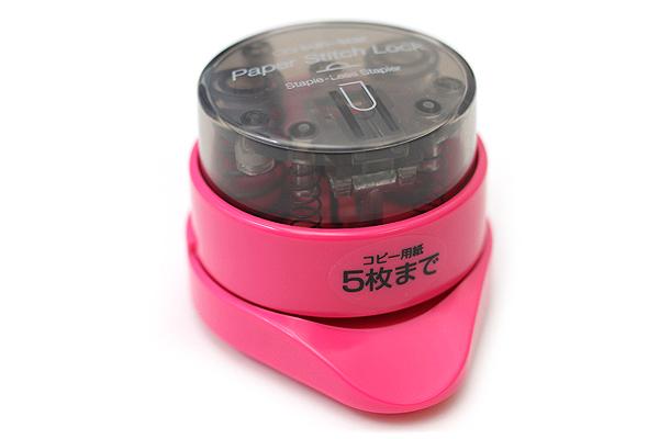 Sun-Star Paper Stitch Lock Stand Staple-Less Stapler - Shocking Pink - SUN-STAR S4766393
