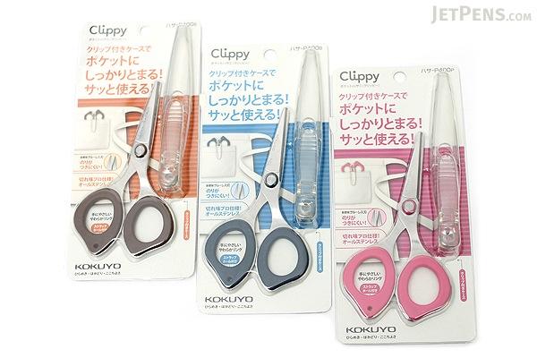 Kokuyo Clippy Non-Stick Scissors with Clip - Pink - KOKUYO HASA-P400P