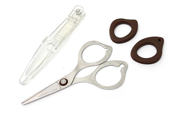 Kokuyo Clippy Non-Stick Scissors with Clip - Brown - KOKUYO HASA-P400S