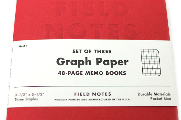 """Field Notes Color Cover Memo Book - Red Blooded - 3.5"""" X 5.5"""" - 48 Pages - 5 mm Graph - Pack of 3 - FIELD NOTES FNRB-01"""