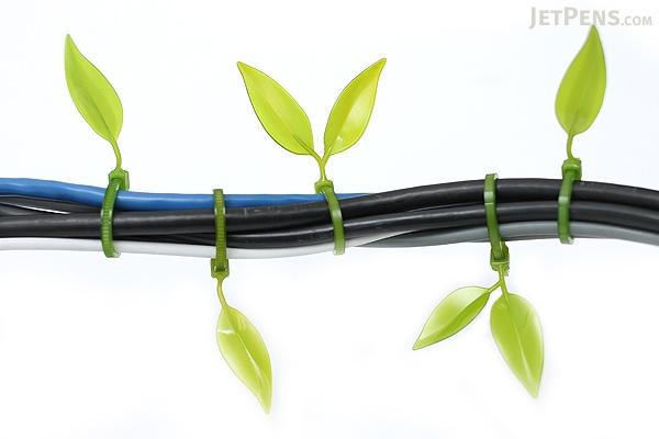 Leaf Tie Cable Organizer - Olive Green - Pack of 12 - LEAF TIE OLIVE