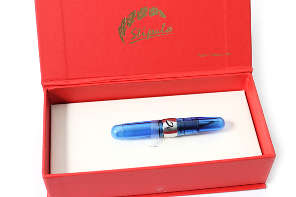 Stipula Passaporto Fountain Pen - Double Broad Nib - Transparent Blue Body