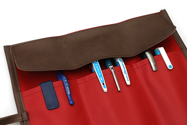 Saki P-666 Roll Pen Case - Medium - Red - SAKI P-666-R